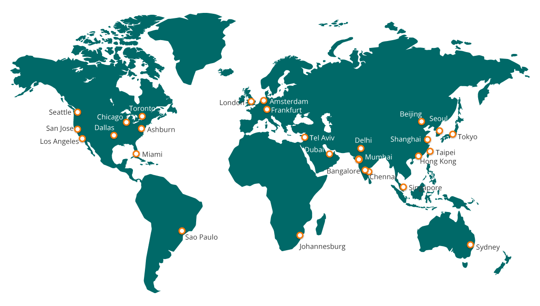 Aryaka POP map