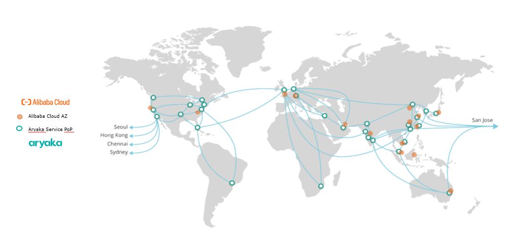 Alibaba Cloud and Aryaka POP map