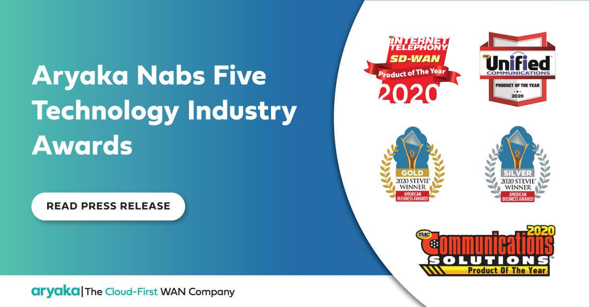 Aryaka Nabs Five Technology Industry Awards, Including Three Product of the Year Awards from TMCnet - Aryaka