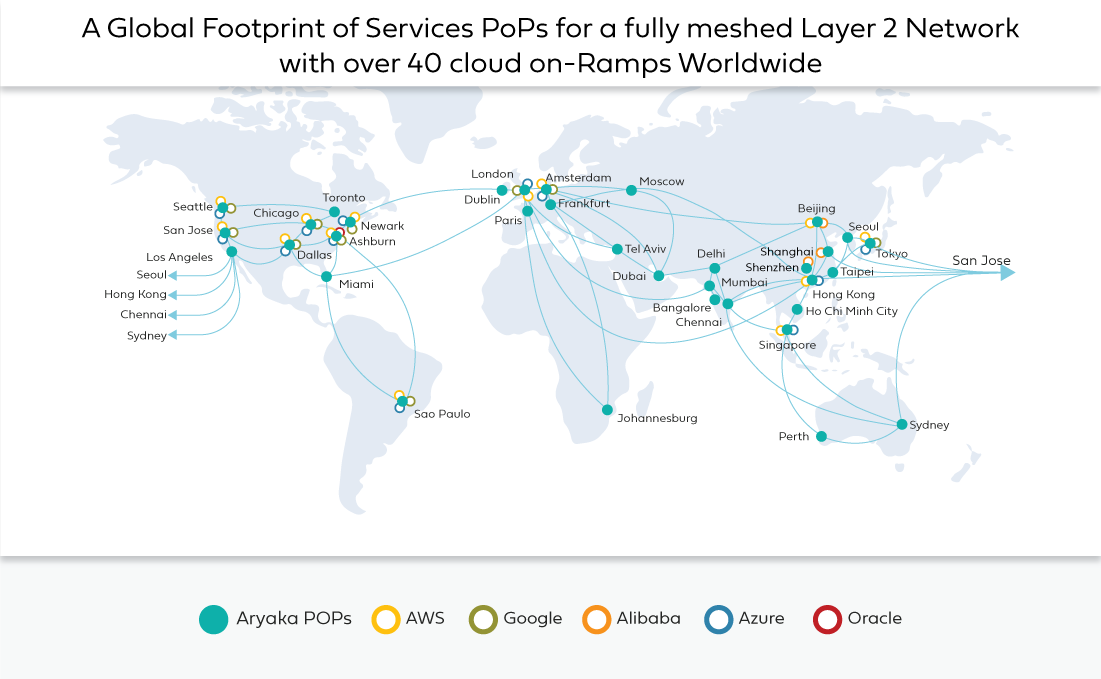 Global POP map with Cloud on-ramp