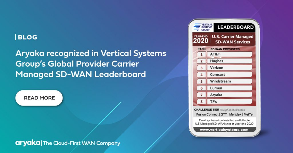 Aryaka recognized in Vertical Systems Group's Global Provider Carrier Managed SD-WAN Leaderboard